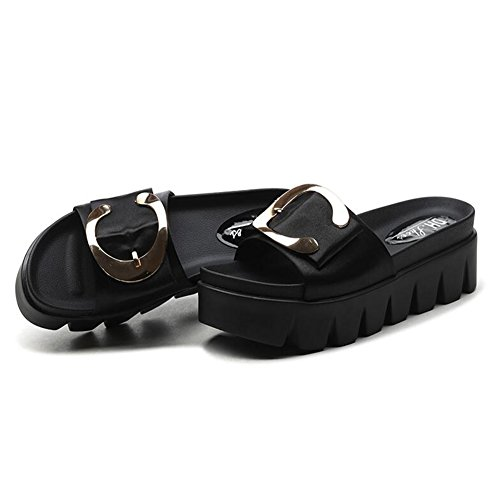 Sandalias Zapatillas Negro Mujer De Color Tamaño Alto Verano Eu35 Qidi Blanco Temporada uk3 Tacón Moda vn4SqvdwY