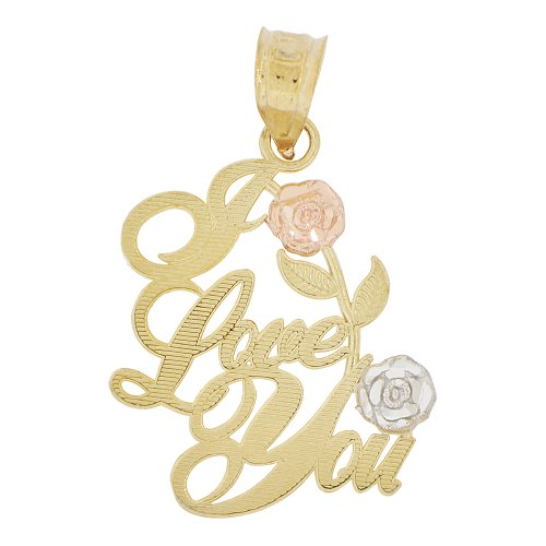 14k Yellow Gold, I Love You Rose Flower Pendant Charm in Script Writing by GiveMeGold