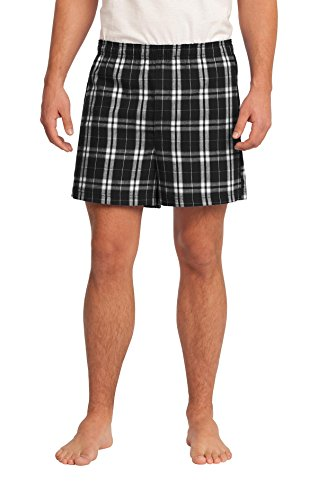 District Men's Young Flannel Plaid Boxer L Black ()