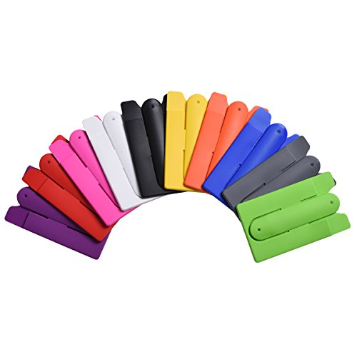 Price comparison product image CZCCZC 10pcs Universal Mix Color Back 3M Silicone Stick SIM/Credit Card Holder Pocket Pouch with Phone Stand