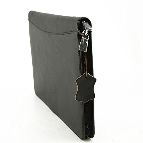 Porte Documents A4 En Cuir Véritable Avec Compartiments Intérieurs Couleur Noir - Maroquinerie Fait En Italie - Cartable