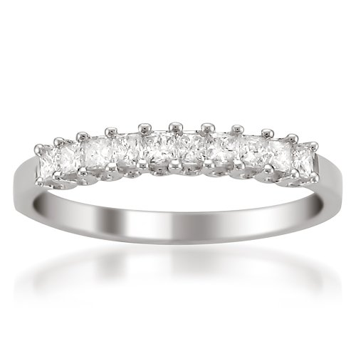 - 14k White Gold Princess-Cut Diamond Wedding Band (1/2cttw, H-I Color, I1-I2 Clarity), Size 7.5