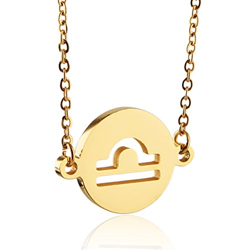 HZMAN 12 Constellations Necklace Woman Jewelry 12 Zodiac Sign Tag Pendant Stainless Steel Necklace Birthday Gifts (Libra - Gold)