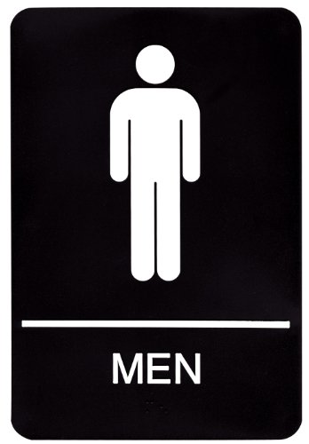 Headline Sign 9002 ADA Men's Restroom Sign with Tactile Graphic, 6 Inches by 9 Inches, Black/White