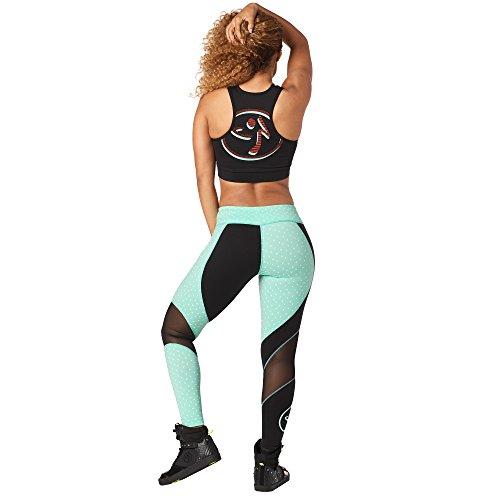 Zumba Fitness Dance Workout Leggings for Women Sof Breathable Sexy Mesh Leggings, Bold Black, L