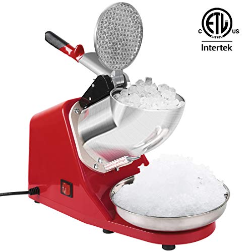 VIVOHOME Electric Ice Crusher Shaver Snow Cone Maker Machine Red 143lbs/hr for Home and Commerical Use ETL Safety Standard Certified (Red Snow Cone Machine)