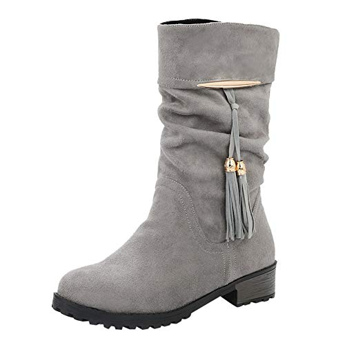 Cenglings Women Mid-Calf Boots Winter, Flock Round Toe Tassel Low Chunky Heel Shoes Military Combat Army Boots