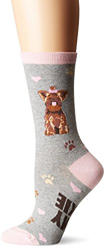 K. Bell Women's Dog Lover Novelty Casual Crew Socks, Yorkie (Grey), Shoe Size: 4-10