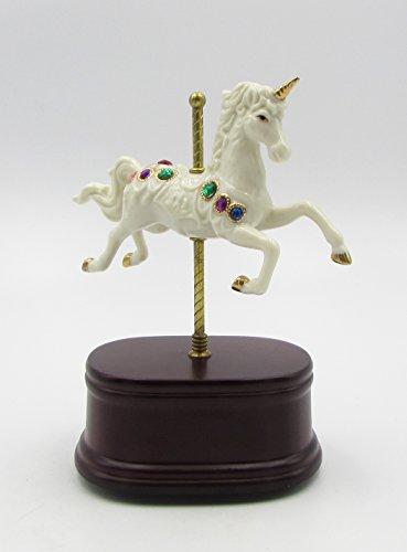 Porcelain Elegant Box Gift - Cosmos Gifts Fine Elegant Jade Porcelain Unicorn on Wooden Base Music Box Figurine, 8-1/2