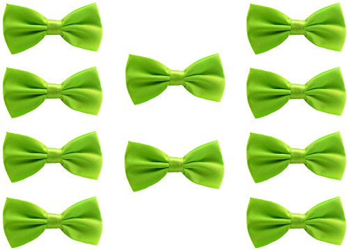 Udres Men Formal Tuxedo 10 Pack Solid Color Satin Bow Tie Classic Pre-Tied Bowtie (One Size, Green) ()