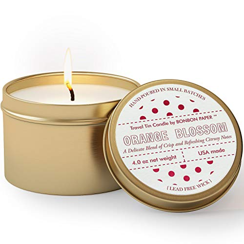 BonBon Orange Blossom Candle | Aromatherapy Candle in a Gold Travel Tin - Non Toxic, 100% Natural Vegetable Soy Wax for Home Scent Luxury Candle with Orange Blossom Perfume