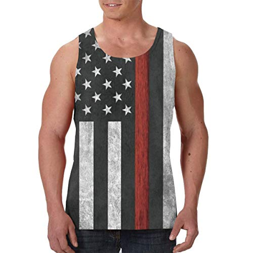 Fireman Youth T-shirt - Active Athletic Sleeveless Vest T-Shirts for Youth & Adult Men Boys Sweatproof Activewear Shirt Tank Top Vest Comfort Soft Regular Fit Shirts -Fireman Thin Red Line Flag
