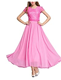 MorySong Women's Formal Chiffon Bridesmaid Dress Long Lace Summer Maxi Gown