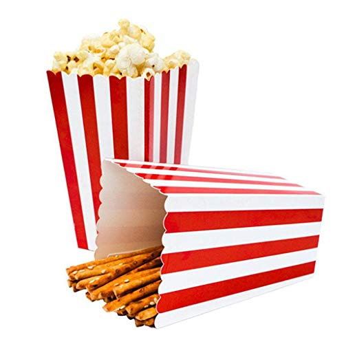 ️ Yu2d ❤️❤️ ️Popcorn Boxes Decorative Stripe Party Template for Movie 24pcs]()