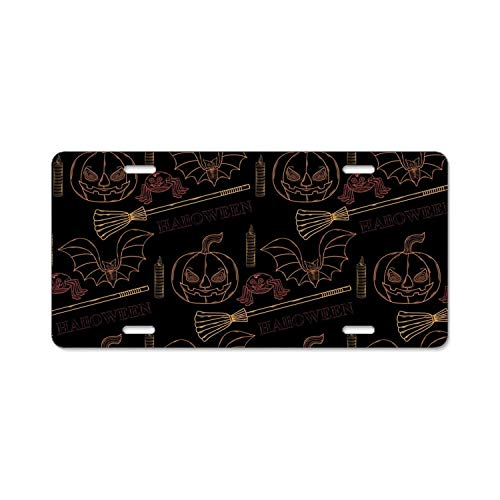 YEX Halloween with Themed License Plate Frame Car Licence Plate Covers Auto Tag Holder Tag Sign 12