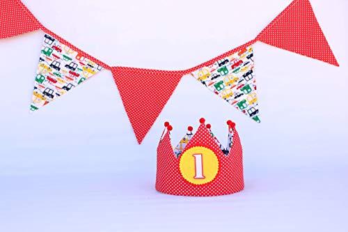 Banderolas y corona de tela para cumpleaños niños ...