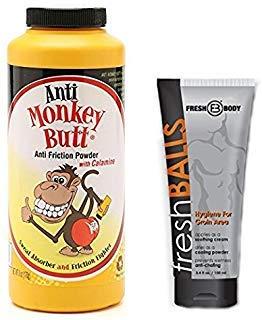 NO Sweat Bundle! with Anti-Monkey Butt Powder and Fresh Balls Lotion (3.4 oz, Mens)