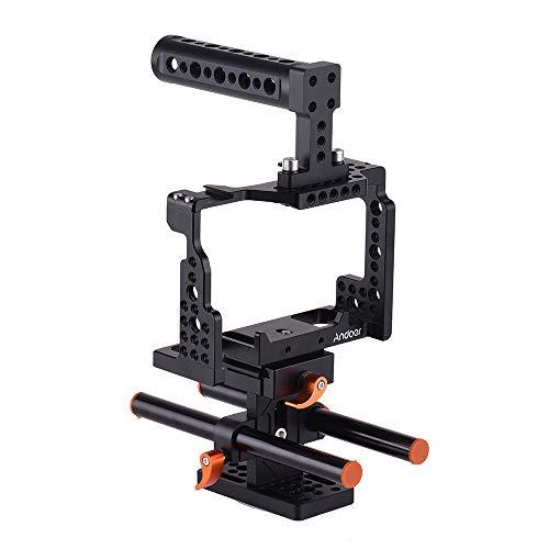 تثبیت کننده قفس دوربین آلیاژ آلومینیوم اندرو برای سونی A7II / A7III / A7SII / A7M3 / A7RII / A7RIII با نصب کفش سرد و دسته بالا و دسته بالا و پایه 15 میلیمتری میله