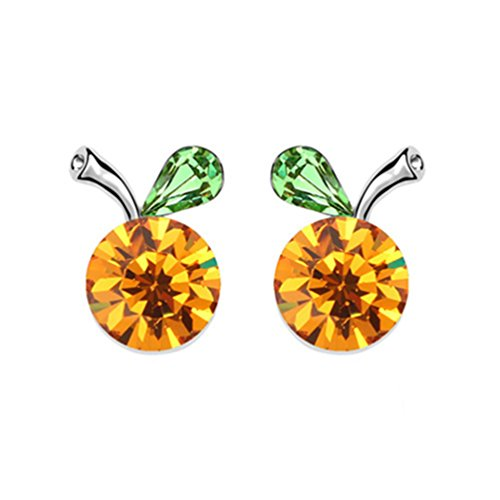 Apple Crystal Silver Swarovski Plated (White Gold Plated Crab Apple Fruit with Round Golden Yellow Swarovski Element Crystal Stud Earrings Fashion Jewerly for Women)