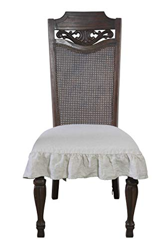 Dining Beautiful Linen Chair Seat Cover with 3 Sided Ruffle in Small (Natural)