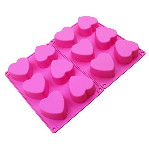 BAKER DEPOT 6 Holes Heart Shaped Silicone Mold For Chocolate, Cake, Jelly, Pudding, Handmade Soap, Set of (Heart Shaped Silicone)
