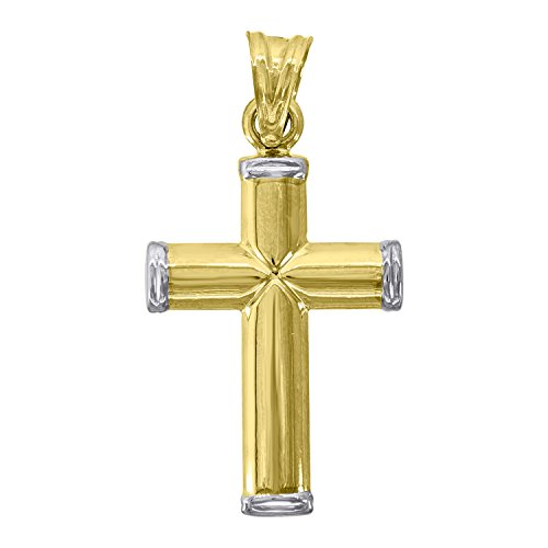 - Jewels By Lux 10k Gold Yellow and White Two tone Polished Mens Cross (Ht:36mm x W:18mm) Religious Charm Pendant