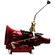 """American Shifter 58563 Single Action Automatic Transmission Shifter Kit with 12"""" Single Bend Arm and Black Knob for Ford C4 Transmission"""