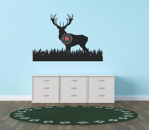 Target Decals - Top Selling Decals - Prices Reduced : Deer Buck Wild Animal Gun Hunting Bulls Eye Target Living Room Bedroom Kitchen Home Decor Picture Art Image Graphic Mural Design Decoration – Size : 20 Inches X 20 Inches - Vinyl Wall Sticker - 22 Colors Available