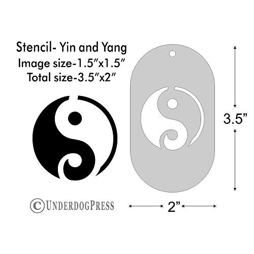 Stencil - Yin and Yang, Image Size 1.5x1.5 on 3.5x2 Border ()