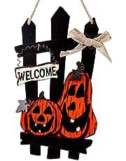 WhatSign Halloween Decorations Door Hanging Sign Wooden Welcome Sign for Front Door Vintage Halloween Pumpkin Door Hanger for Halloween Home Wall Indoor Outdoor Decor