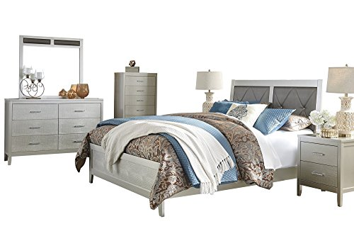 Ashley Olivet 6PC Bedroom Set E King Panel Bed Two Nightstand Dresser Mirror Chest in Silver