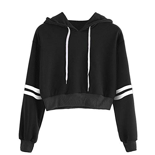 ZTTONE Women Varsity-Striped Drawstring Crop Hoodie Sweatshirt Jumper Crop Pullover Top