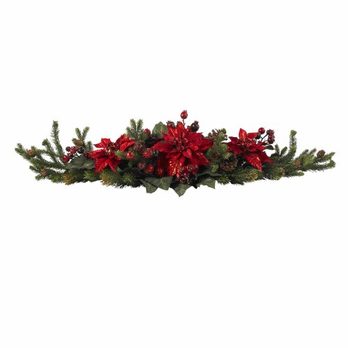 Nearly Natural 4917 Poinsettia and Berry Centerpiece, Red