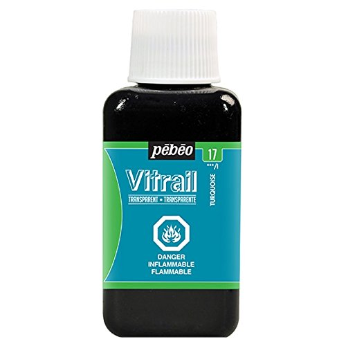 Pebeo 250ml Vitrail Stained Glass Effect Paint Bottle, Turquoise - 250 Effect