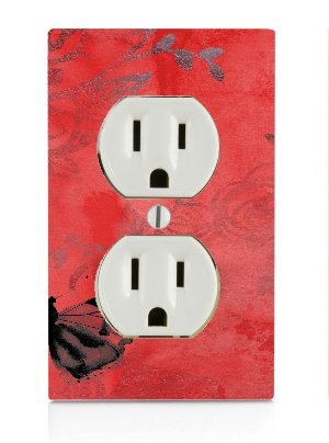 Butterfly Red Vintage Electrical Outlet Plate ()