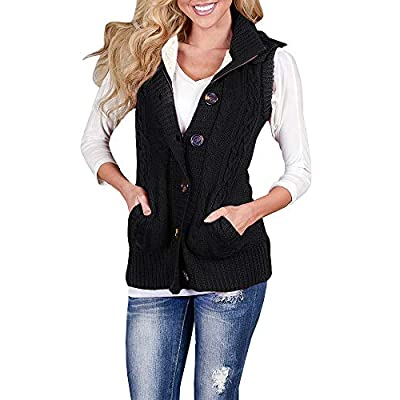 Imily Bela Women's Cable Knit Sleeveless Hoodies Button Down Sweater Vest with Pockets at Women's Clothing store