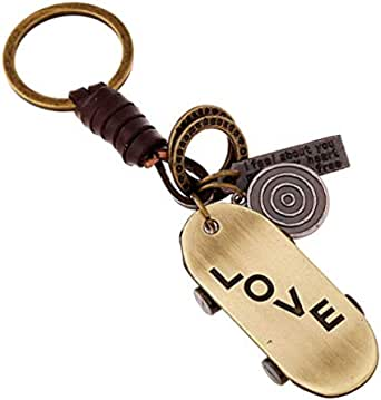 Men's keychain Alloy skateboard Leather Keyring Braided Leather Keychain Bag pendant Personalized fashion accessories