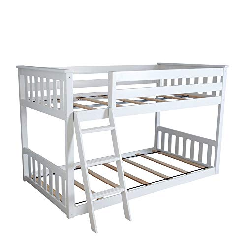 Max & Lily Twin over Twin Low Bunk Bed, White - Low Loft Bunk Bed