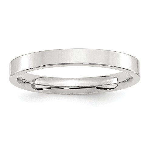 - JewelrySuperMart Collection Sterling Silver 3mm Plain Flat Classic Comfort-fit Wedding Band - Size 6.5