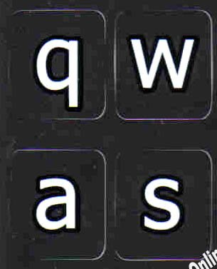 (English Us Large Letter (lower case) Black Backgroubd Non Transparent Computer Labels For)