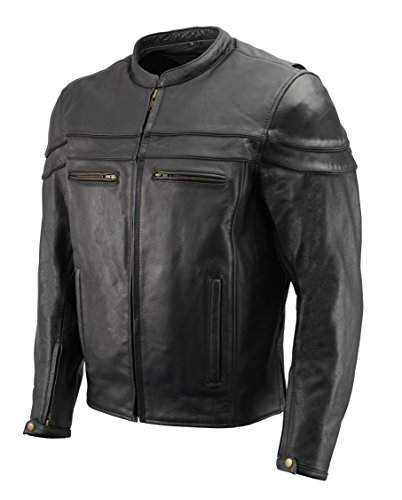 Men's Leather Crossover Scooter Jacket w/Removable CE Armor | Premium Natural Buffalo Leather | Concealed Gun Pockets, Vented Motorcycle Jacket (Black, M)