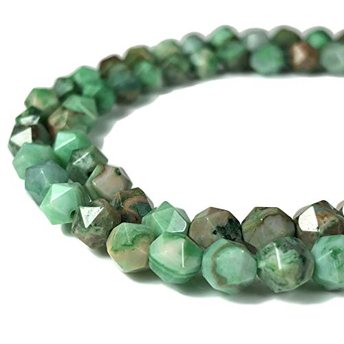 [ABCgems] Mexican Green Crazy Lace Agate (Exquisite Matrix) 6mm Precision-Star-Cut Beads for Beading & Jewelry ()