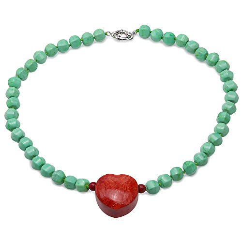 JYX Turquoise Necklace 9.5×11mm Green Irregular Turquoise Beads dotted a Red Heart-shape Coral Pendant Single-strand Necklace AAA Handmade Gemstone
