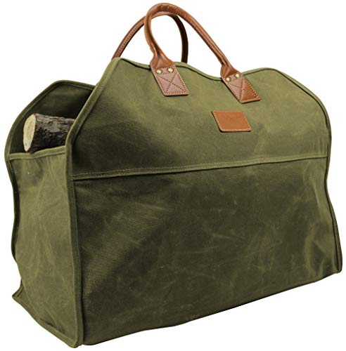 INNO STAGE Heavy Duty Wax Canvas Log Carrier Tote,Large Fire Wood Bag,Durable Firewood Holder,Fireplace Wood Stove Accessories Storage Bag - Green ()