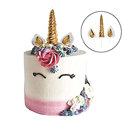 GmakCeder Unicorn Cake Topper,Reusable Unicorn Horn, Ears and Eyelashes Party Cake Decoration Value Set for Baby Shower, Birthday Party