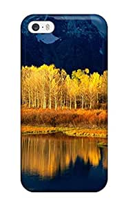 Excellent Iphone 5/5s Case Tpu Cover Back Skin Protector Mountains With Yellow Trees