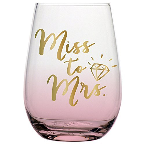 Miss to Mrs Stemless Wine Glass Wedding or Engagement for the Bride with Gold Lettering, 20 Ounce