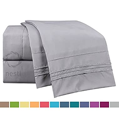 Bed Sheet Bedding Set, King Size, Light Silver Gray, 100% Soft Brushed Microfiber Fabric with Deep Pocket Fitted Sheet, 1800 Luxury Bedding Collection, Hypoallergenic & Wrinkle Free Bedroom Linen Set By Nestl Bedding