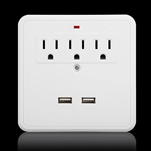 Magicfly Power 3 AC Outlet Wall Mount Surge Protector with 2 Foldable Phone holder & Dual USB Charging Port Color: 3 AC with 2 phone holders Model: Tools & Home Improvement
