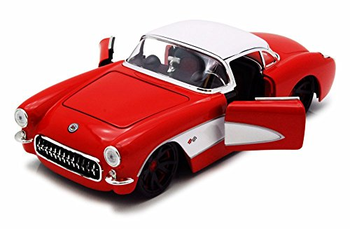 1957 Chevy Corvette, Red w/ White Top - Jada Toys 90937 - 1/24 scale Diecast Model Toy (Diecast 1957 Chevy Corvette)